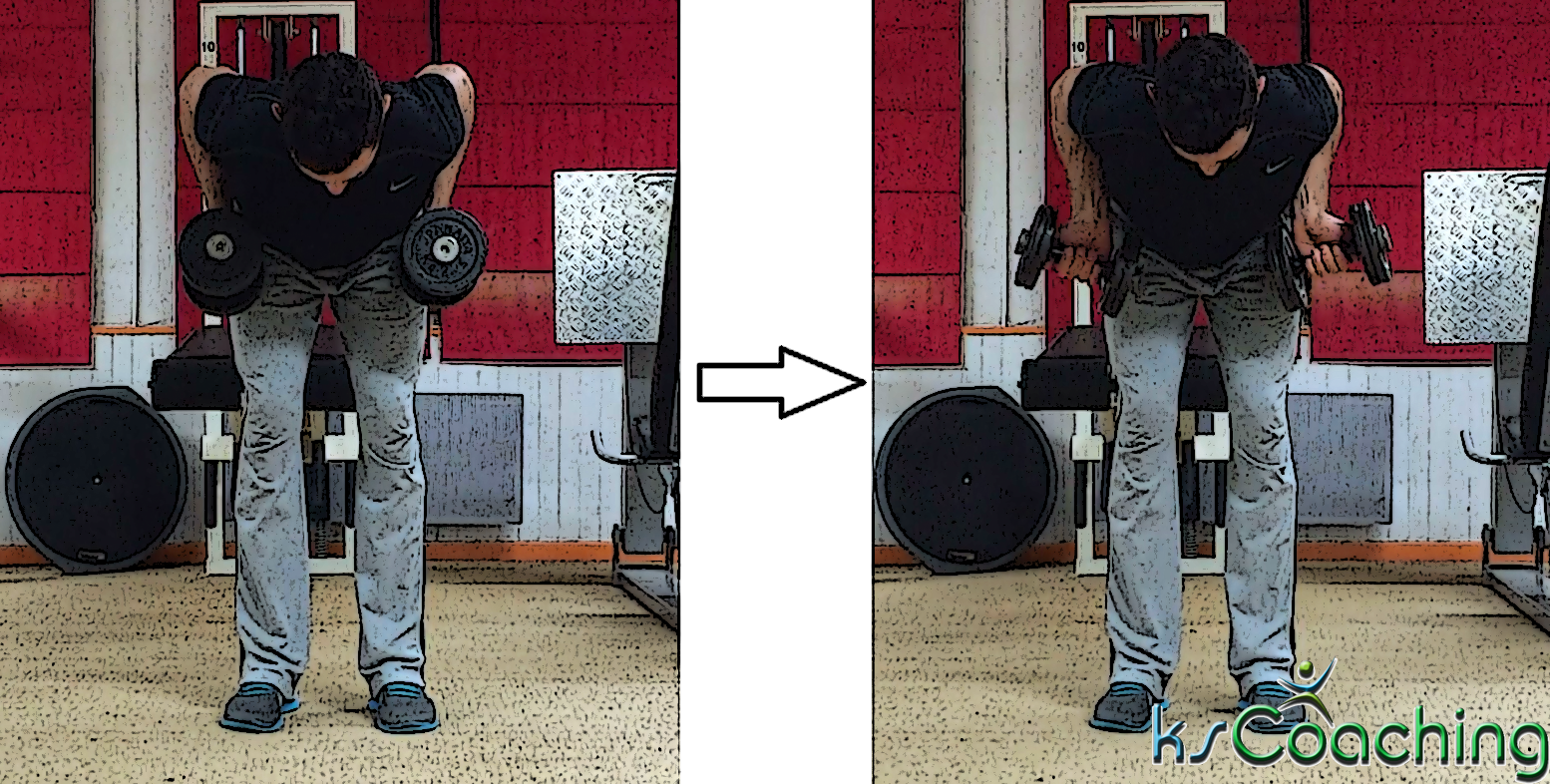 Rowing haltères rotation